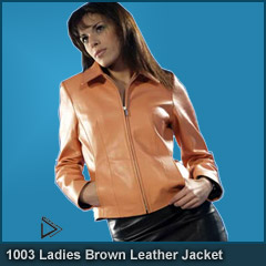 1003 Ladies Brown Leather Jacket